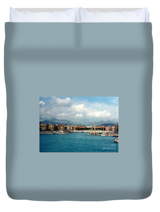 Landscape Duvet Cover featuring the photograph Harbor Scene In Nice France by Nancy Mueller