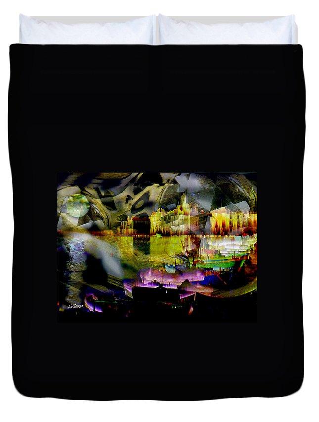 European Duvet Cover featuring the digital art Harbor Scene Through A Vodka Bottle by Seth Weaver
