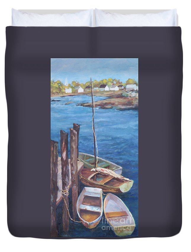 Coastal Landscape Duvet Cover featuring the painting Harbor View So. Freeport Wharf by Alicia Drakiotes