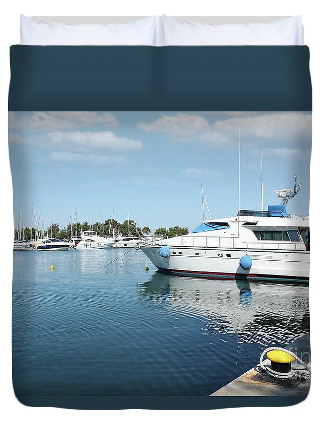 Yacht Duvet Cover featuring the photograph Harbor With Yacht And Boats by Goce Risteski