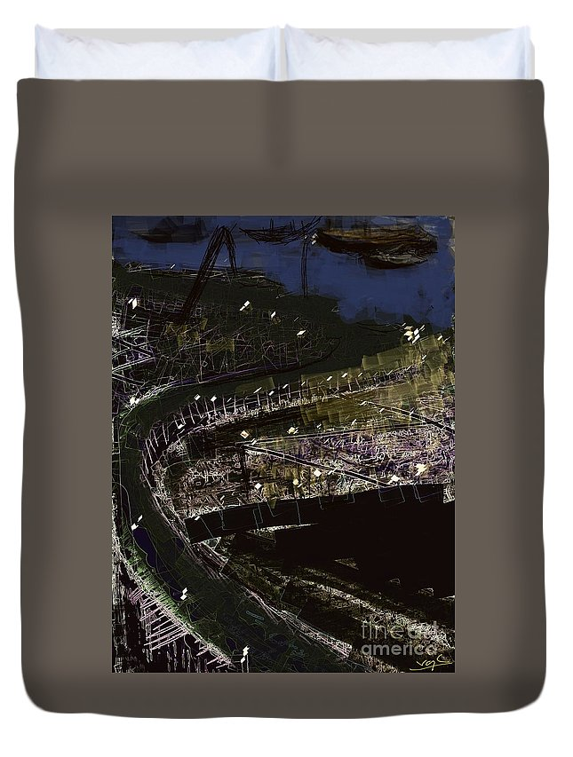 Port Duvet Cover featuring the digital art Harbour At Night by Subrata Bose