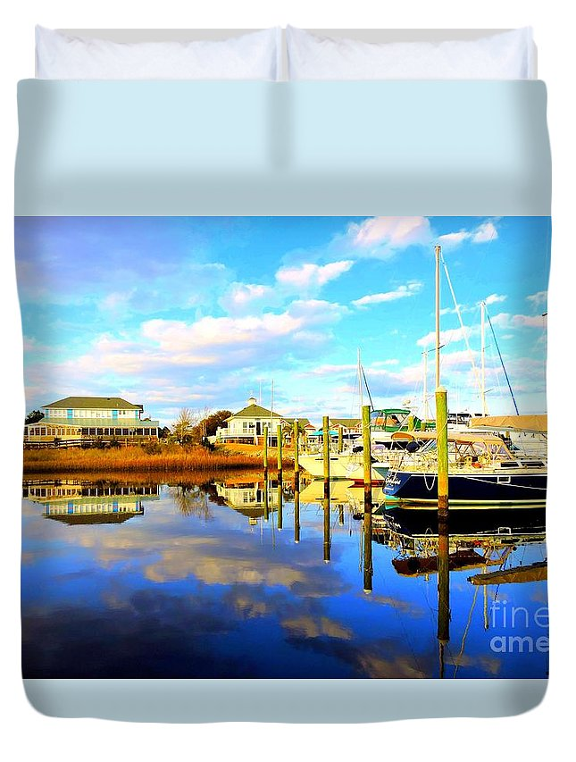 Art Duvet Cover featuring the photograph Harbour Reflections by Shelia Kempf