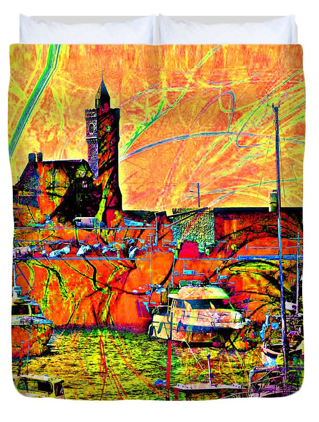Porthleven Duvet Cover featuring the digital art Harbour View Porthleven Cornwall by Mike Marsden
