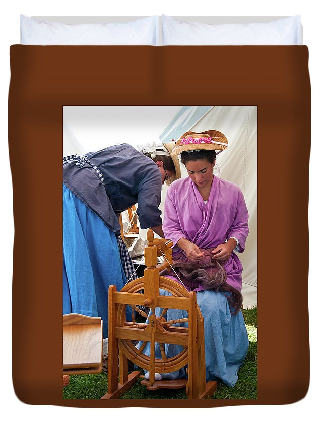 French & Indian War Re-enactor Duvet Cover featuring the photograph Hard At Work by Guy Whiteley