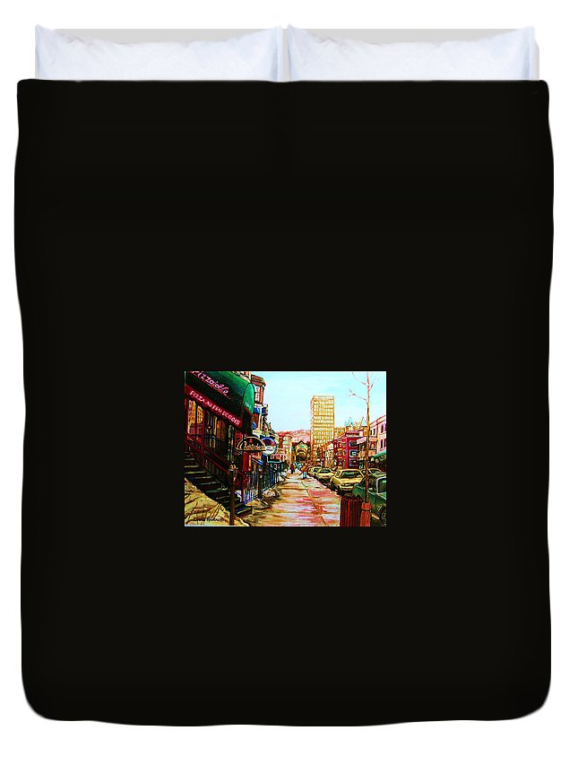 Hardrock Cafe Duvet Cover featuring the painting Hard Rock Cafe by Carole Spandau