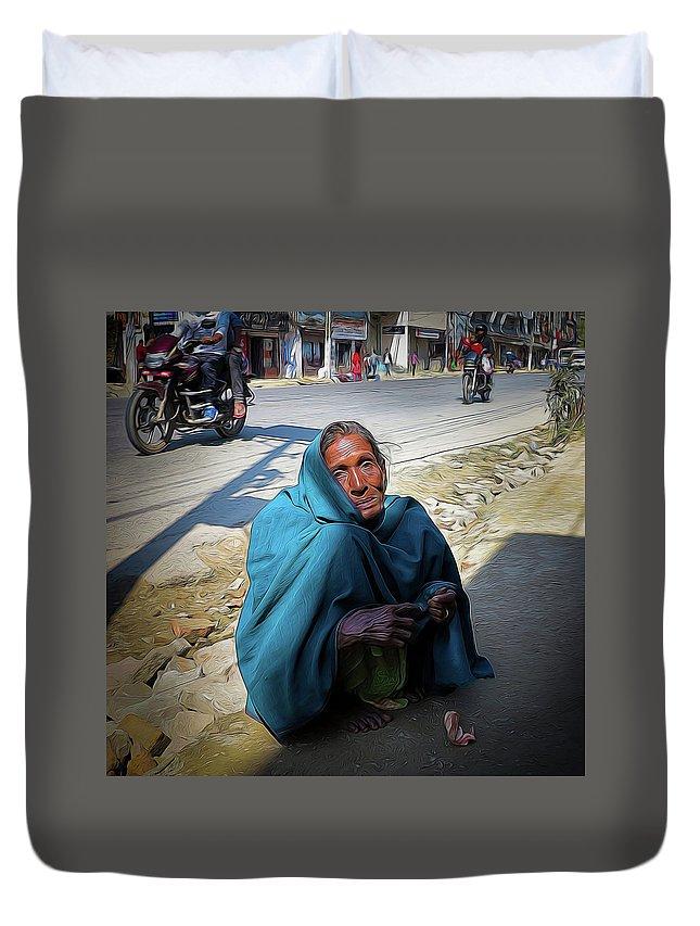 Kathmandu Duvet Cover featuring the photograph Hard Times by David Melville