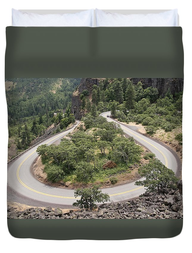 Hard Turn Duvet Cover featuring the photograph Hard Turn by Wes and Dotty Weber