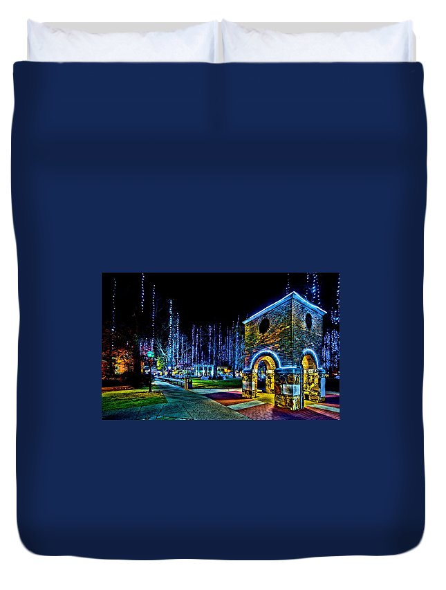 Harding University Duvet Cover featuring the photograph Harding Christmas Bell Tower by Rod Cuellar