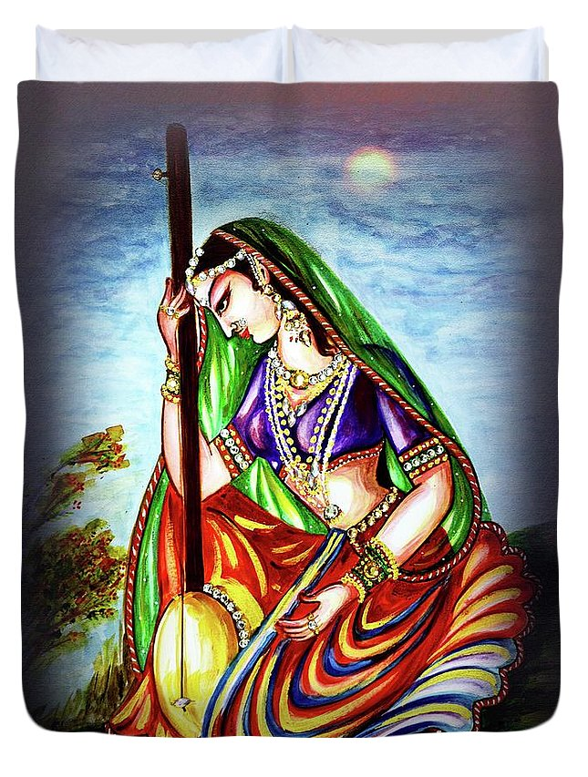 Meera Bai Duvet Cover featuring the painting Hare Krishna - Ecstatic Chanting by Harsh Malik