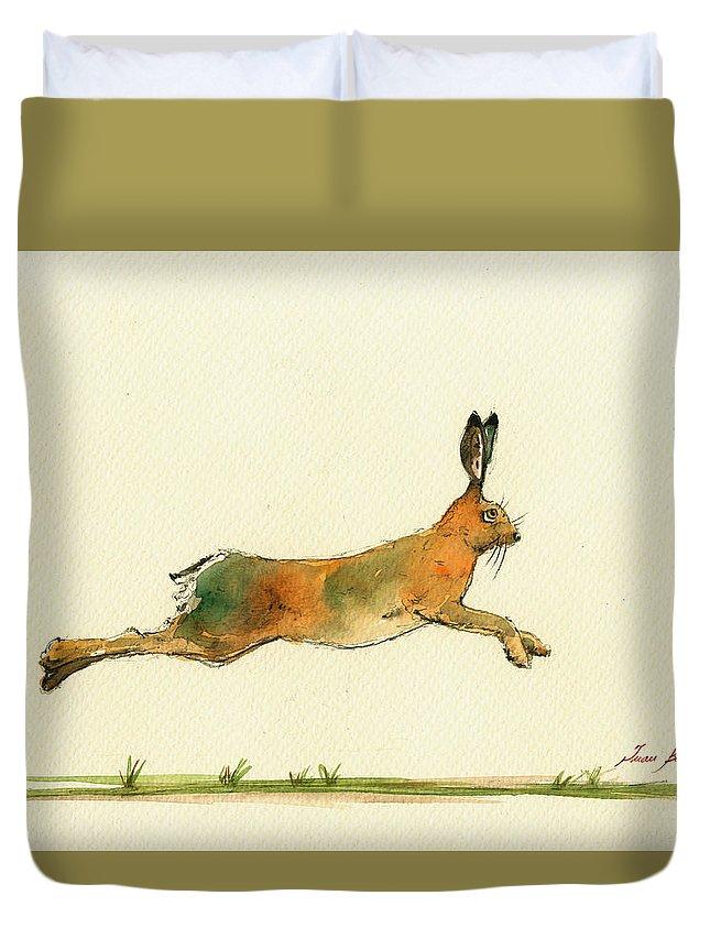 Hare Running Watercolor Painting Duvet Cover featuring the painting Hare Running Watercolor Painting by Juan Bosco