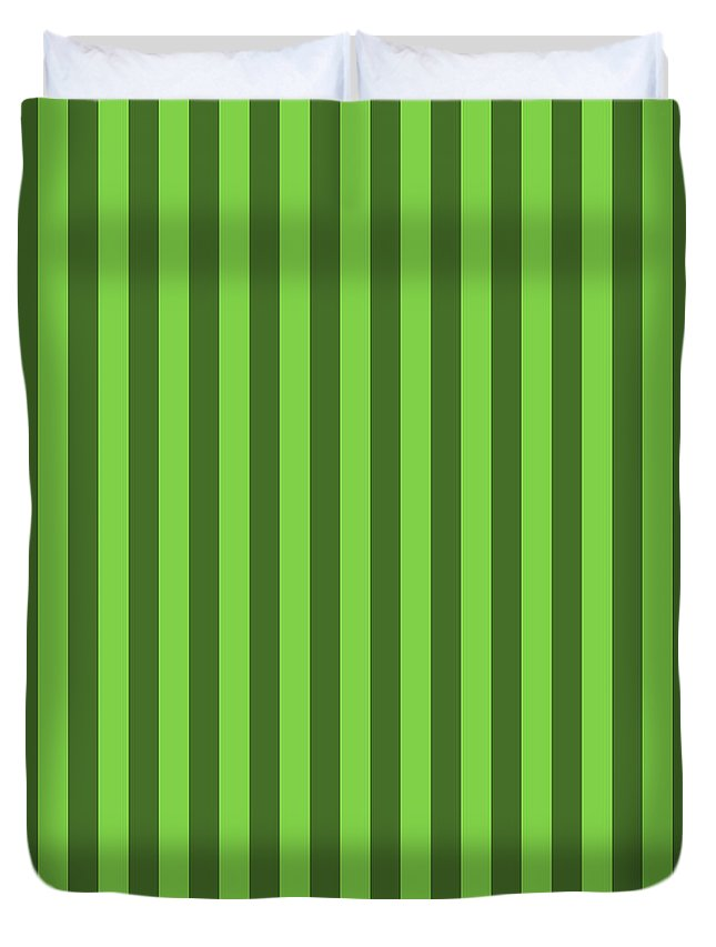 Harlequin Duvet Cover featuring the digital art Harlequin Green Striped Pattern Design by Ross