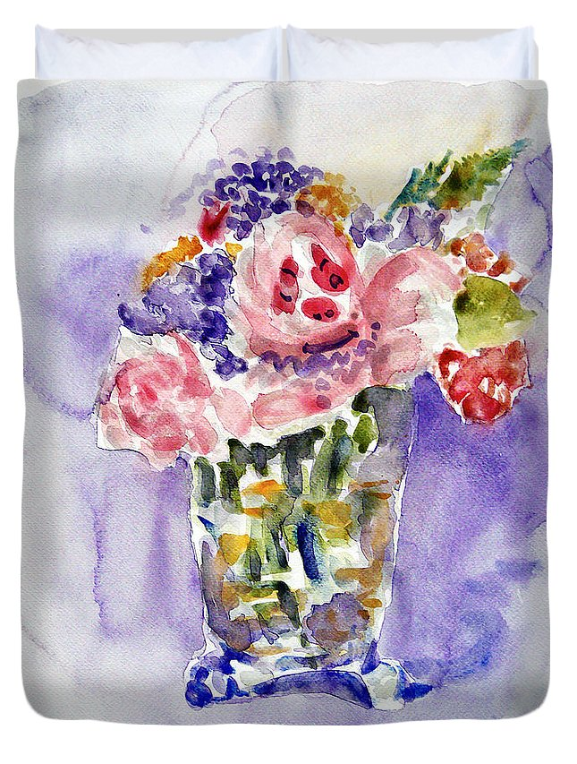 Still Life Duvet Cover featuring the painting Harlequin Or Bright Side Of Life by Jasna Dragun