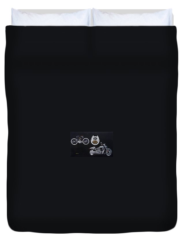Bikes Duvet Cover featuring the painting Harley Davidson 105th Anniversary by Richard Le Page