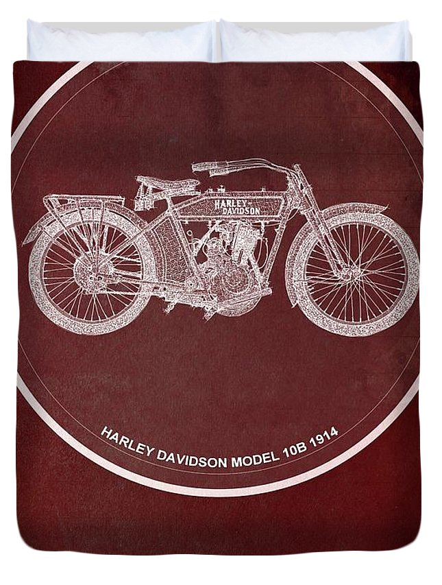 Yamaha Duvet Cover featuring the painting Harley Davidson Model 10b 1914 For Some There's Therapy, For The Rest Of Us There's Motorcycles, Red by Drawspots Illustrations