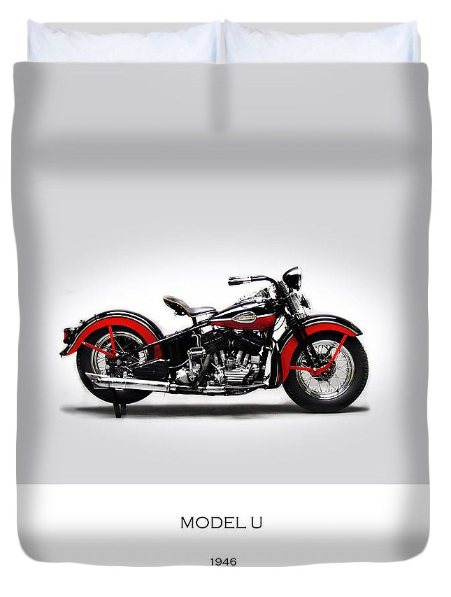 Harley Davidson Duvet Cover featuring the photograph Harley Davidson Model U by Mark Rogan