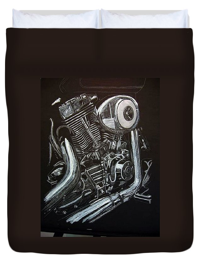 Engine Duvet Cover featuring the painting Harley Engine by Richard Le Page