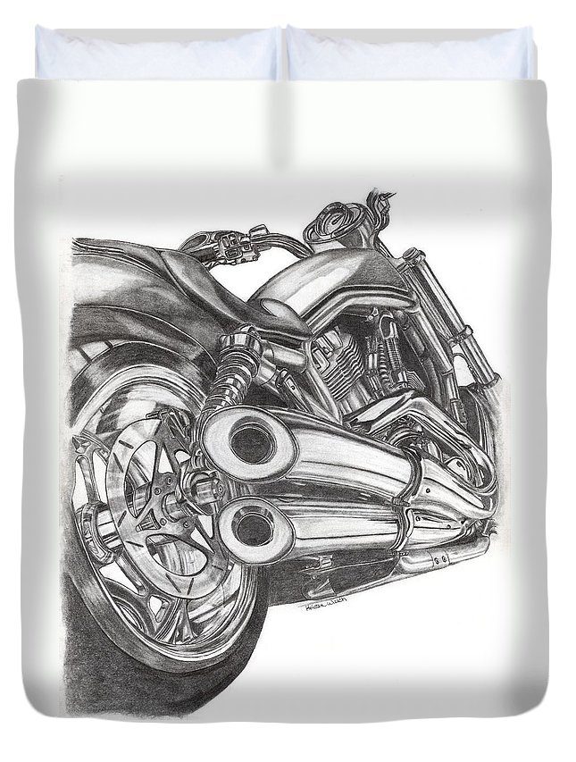 Harley Davidson Duvet Cover featuring the drawing Harley by Kristen Wesch