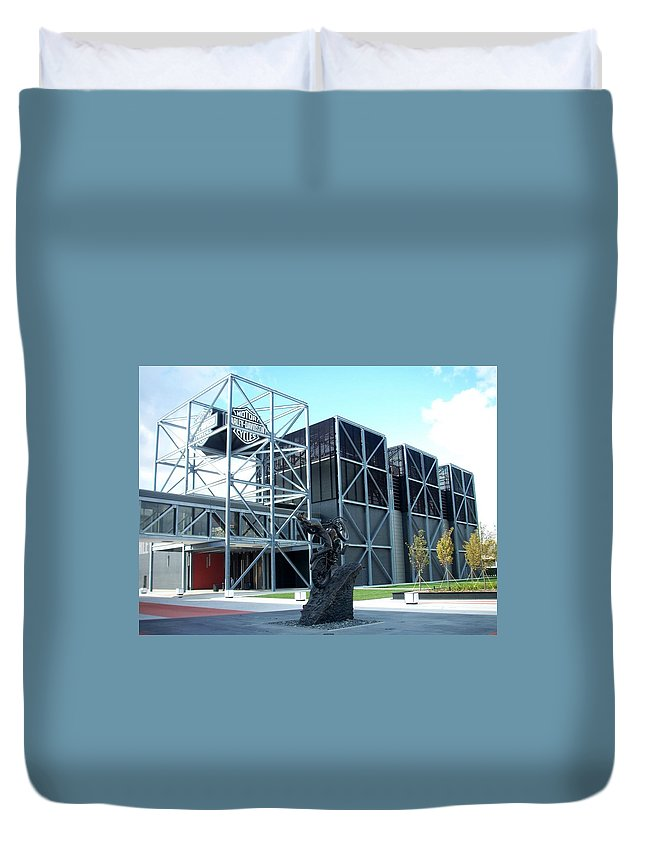 Architechture Duvet Cover featuring the photograph Harley Museum And Statue by Anita Burgermeister
