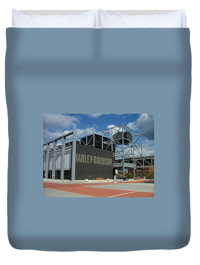 Duvet Cover featuring the photograph Harley Museum by Anita Burgermeister