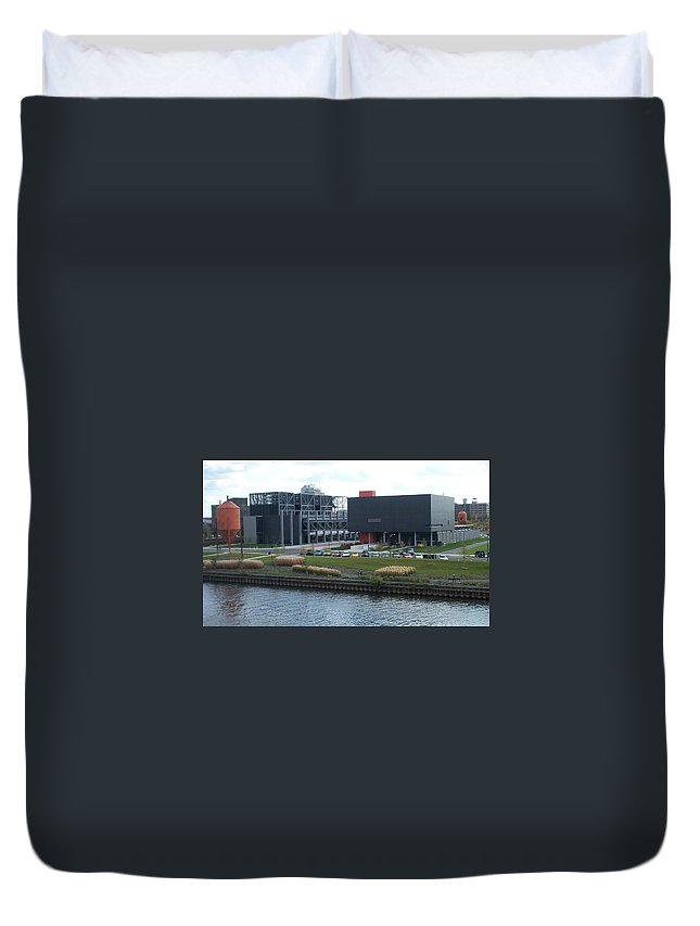 Architechture Duvet Cover featuring the photograph Harley Museum Milwaukee by Anita Burgermeister