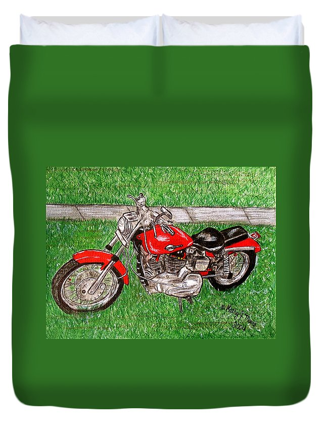 Harley Duvet Cover featuring the painting Harley Red Sportster Motorcycle by Kathy Marrs Chandler
