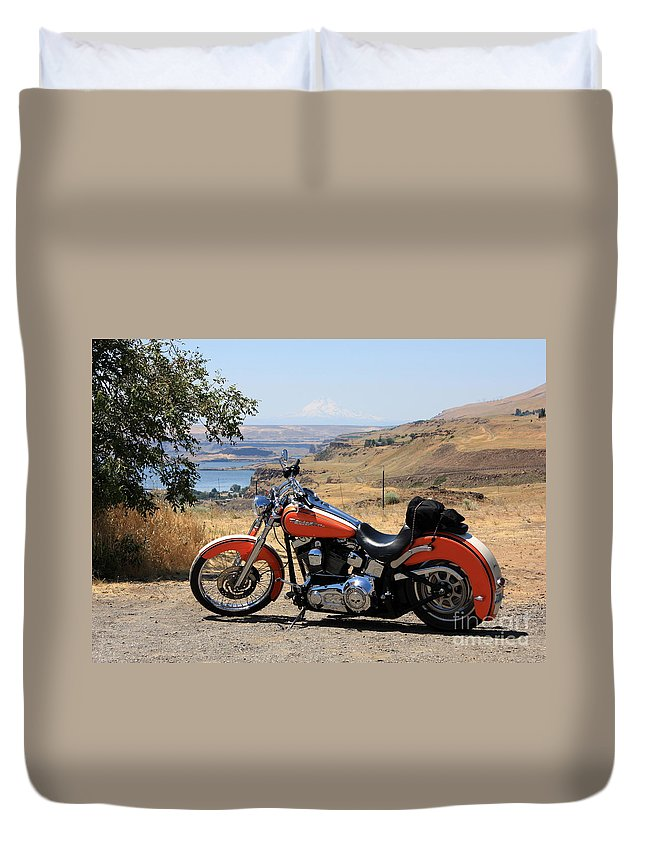 Washington State Duvet Cover featuring the photograph Harley With Columbia River And Mt Hood by Carol Groenen