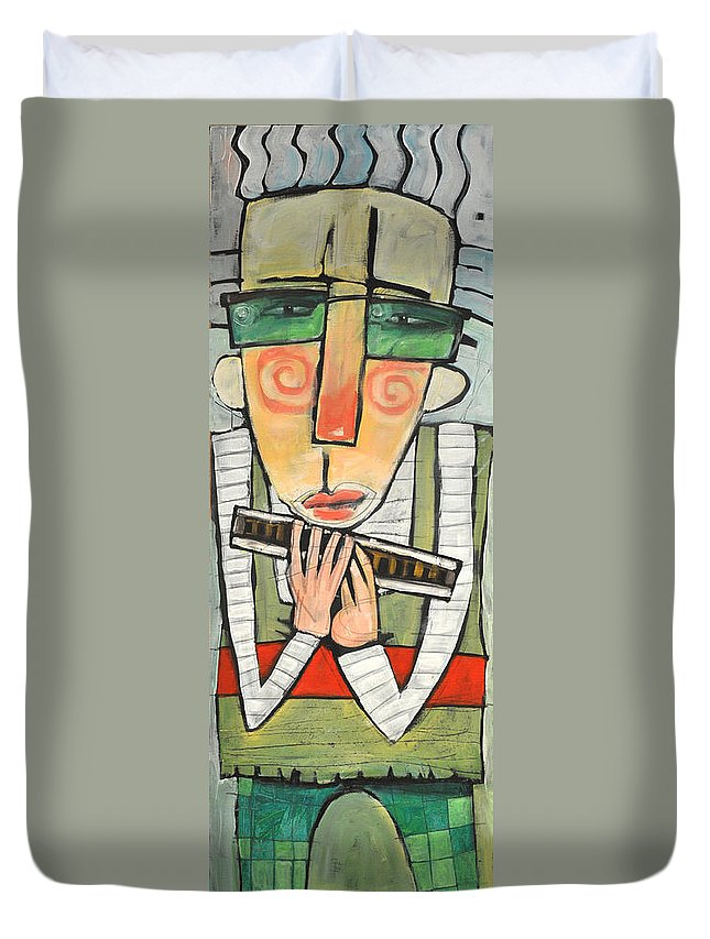 Harmonica Duvet Cover featuring the painting Harmonicat by Tim Nyberg