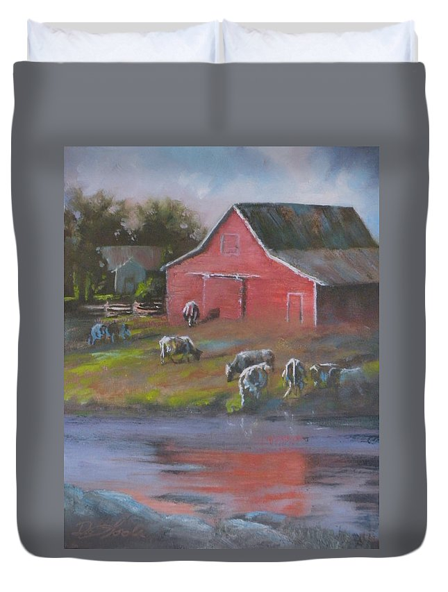 Farms Duvet Cover featuring the painting Harmony by Mia DeLode