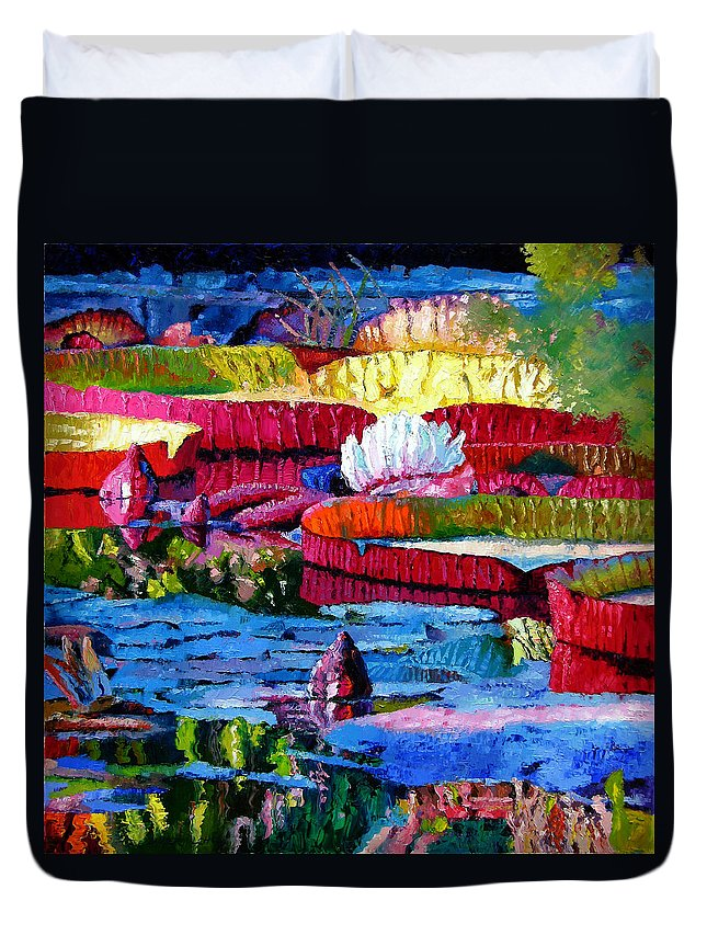 Water Lilies Duvet Cover featuring the painting Harmony Of Color And Light by John Lautermilch