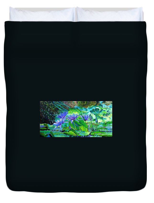 Purple Water Lilies Duvet Cover featuring the painting Harmony Of Purple And Green by John Lautermilch