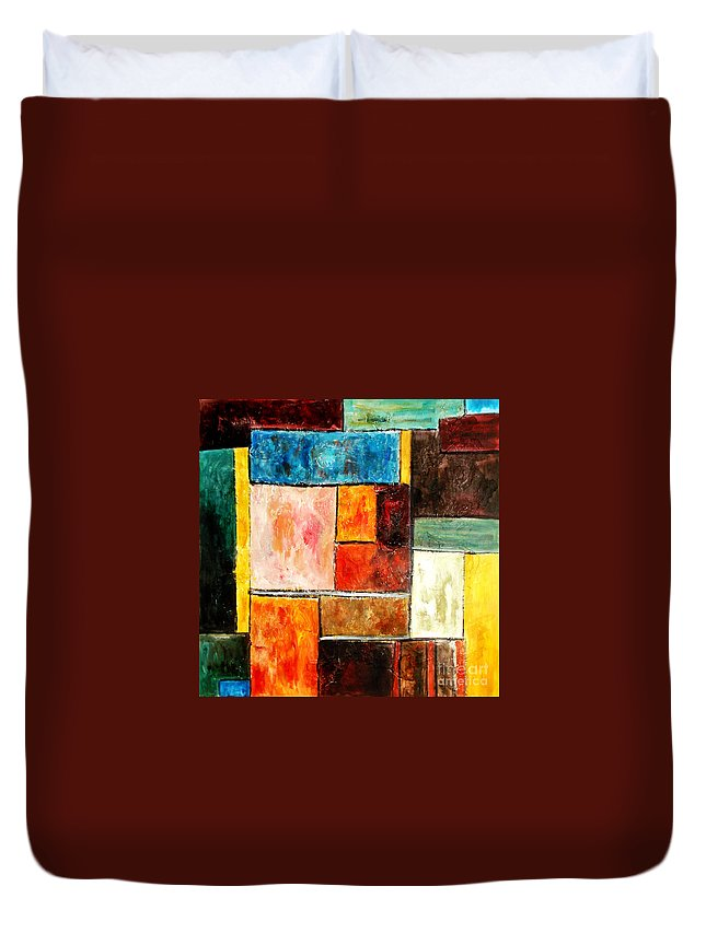 Acrylic Painting Duvet Cover featuring the painting Harmony by Yael VanGruber