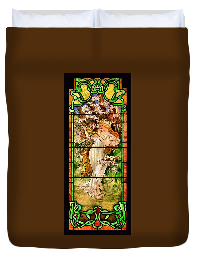 Stained Glass Duvet Cover featuring the photograph Harpist by Kristin Elmquist