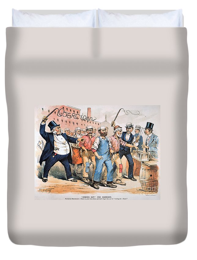 1888 Duvet Cover featuring the photograph Harrison Cartoon, 1888 by Granger