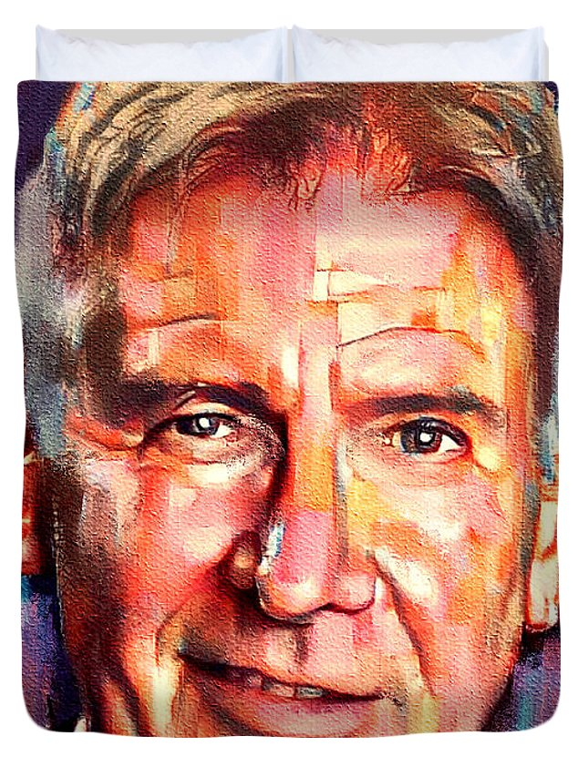 Ford Harrison Duvet Cover featuring the digital art Harrison Ford Indiana Jones Portrait 2 by Yury Malkov
