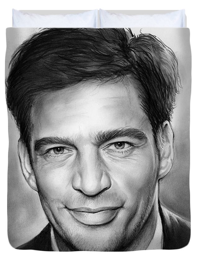 Harry Connick Duvet Cover featuring the drawing Harry Connick, Jr. by Greg Joens