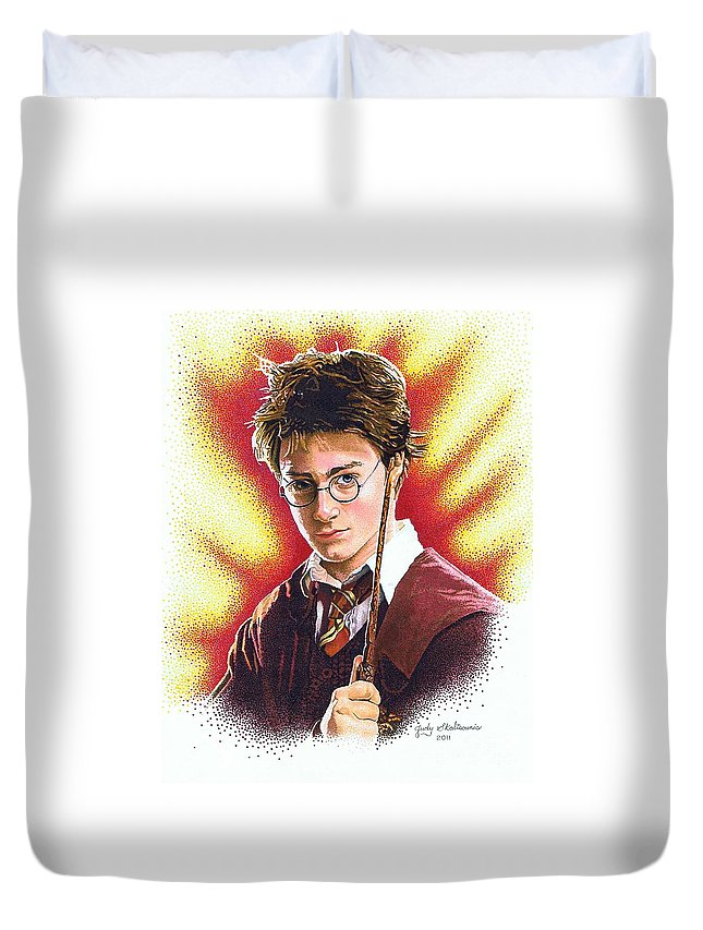 Celebrity Duvet Cover featuring the drawing Harry Potter The Wizard by Judy Skaltsounis