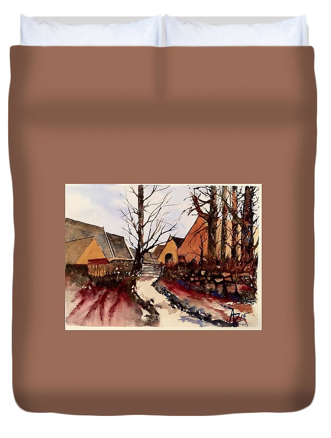 Duvet Cover featuring the painting Harston Hall by Anthony Zecca