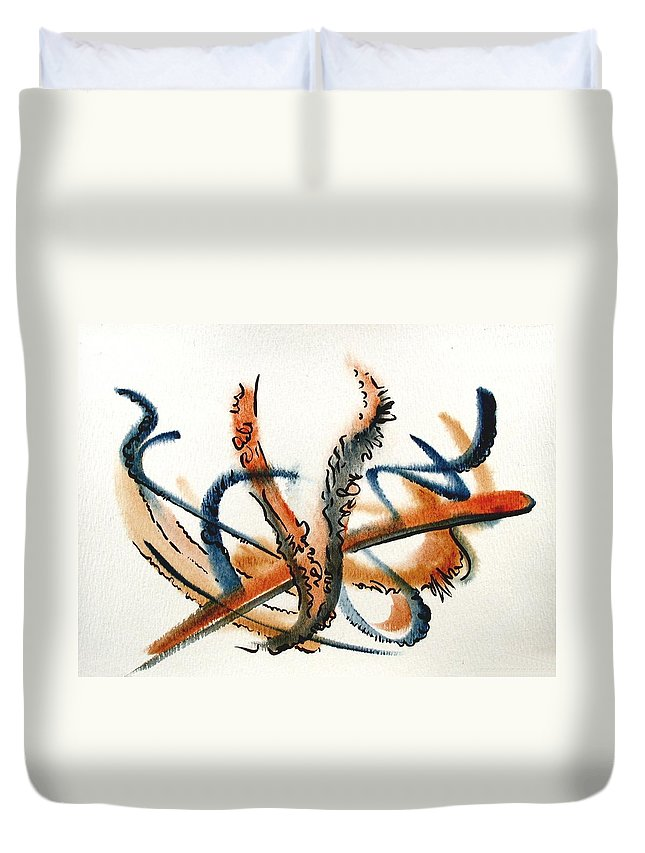 Watercolor Duvet Cover featuring the painting Harvest by Dave Martsolf