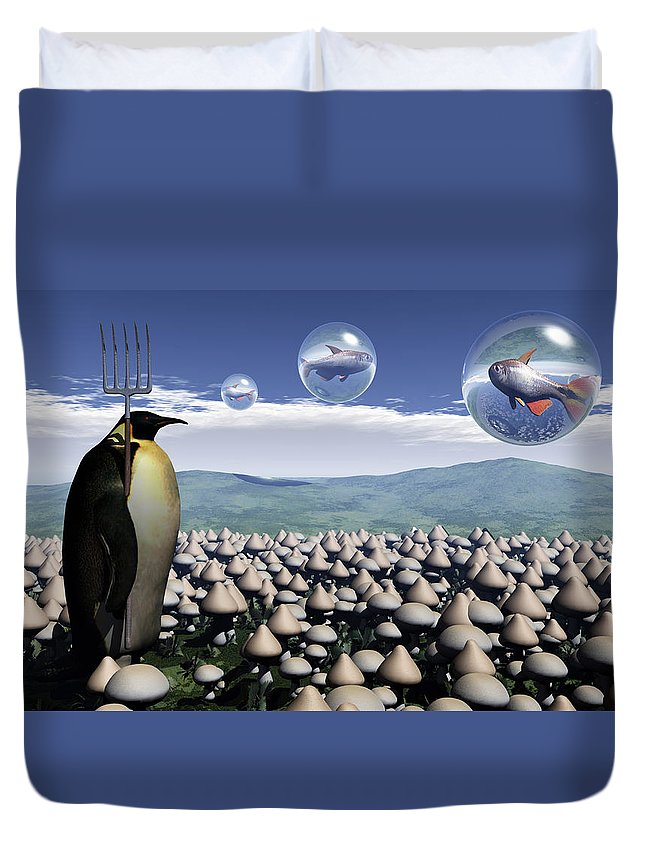 Surreal Duvet Cover featuring the digital art Harvest Day Sightings by Richard Rizzo