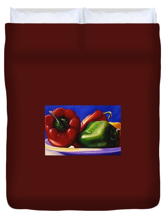 Still Life Duvet Cover featuring the painting Harvest Festival Peppers by Shannon Grissom