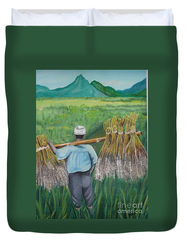 Landscape Duvet Cover featuring the painting Harvest by Kris Crollard