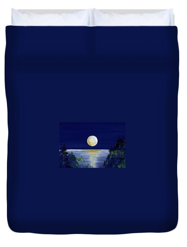 Watercolor Duvet Cover featuring the painting Harvest Moon by Brenda Owen