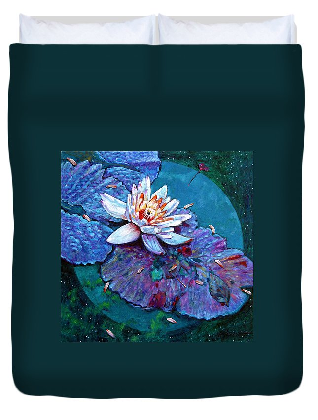 Water Lily Duvet Cover featuring the painting Harvest Moon by John Lautermilch