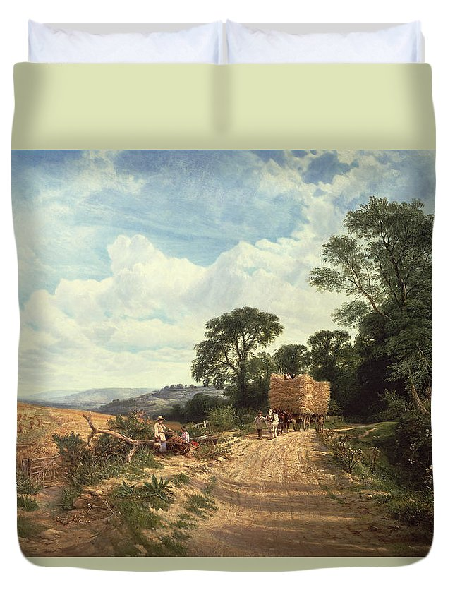 Landscape Duvet Cover featuring the painting Harvest Time by George Vicat Cole