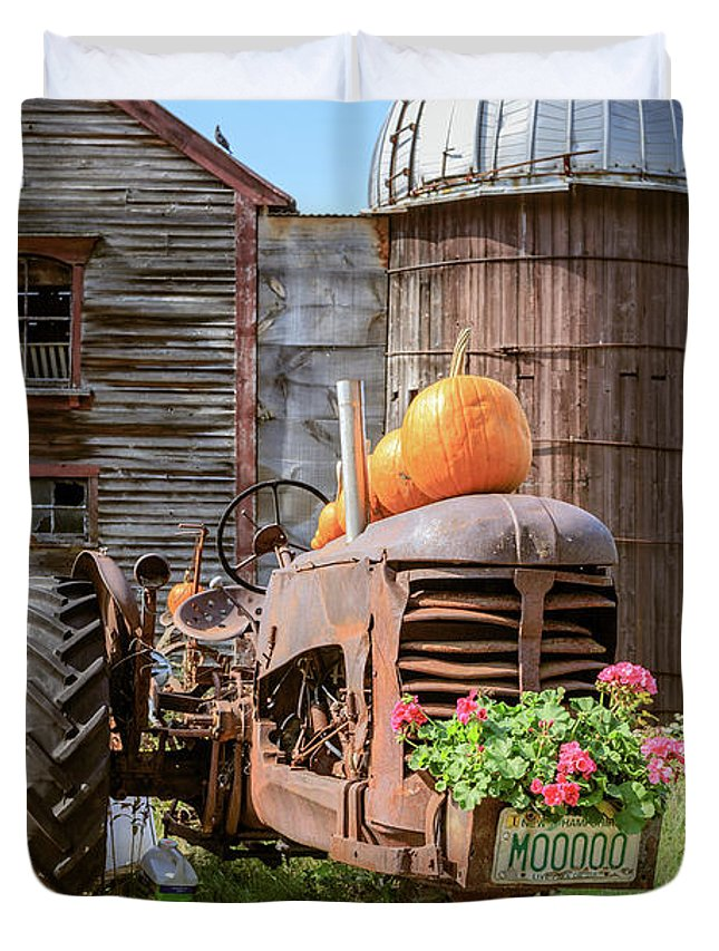 Tractor Duvet Cover featuring the photograph Harvest Time Vintage Farm With Pumpkins by Edward Fielding
