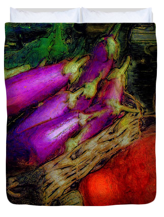 Ebsq Duvet Cover featuring the photograph Harvest Veggies by Dee Flouton