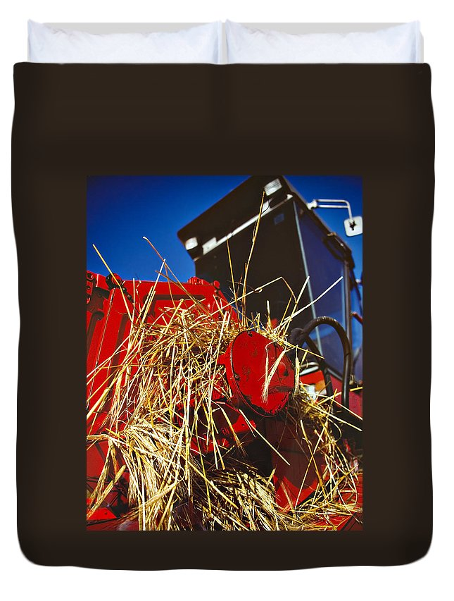 Combine Duvet Cover featuring the photograph Harvesting by Meirion Matthias