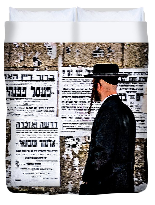 Israel Duvet Cover featuring the photograph Hasadic Jew Reading Pashkevilin by Bob Lynn