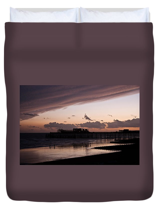 Hastings Pier Duvet Cover featuring the photograph Hastings Pier by Dawn OConnor