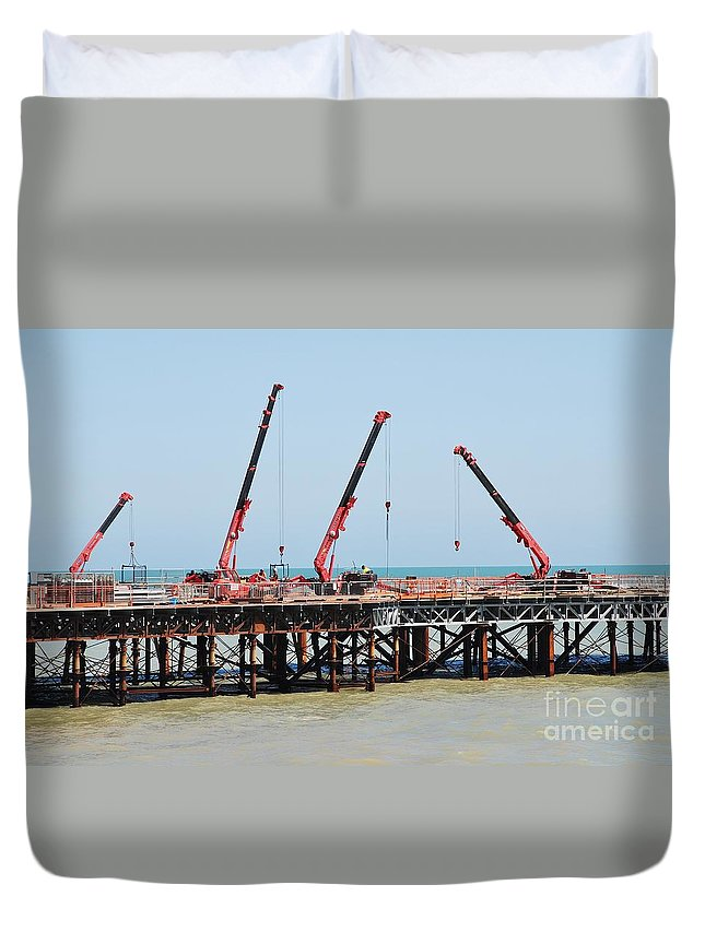 Hastings Duvet Cover featuring the photograph Hastings Pier, England by David Fowler